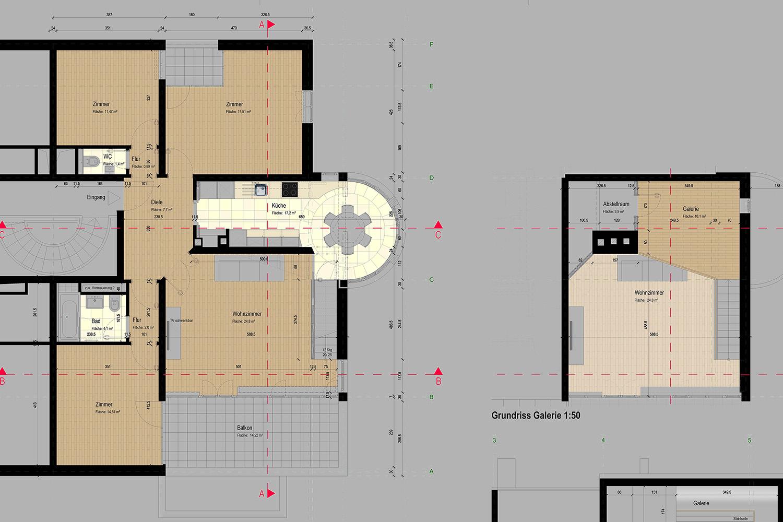 Wohnung Nymphenburg Werkplan Ausschnitt