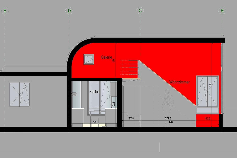 Wohnung Nymphenburg Werkplan Ausschnitt Wohnzimmer Galerie
