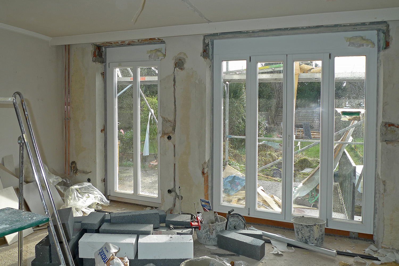 Reihenhaus Kleinhadern Wohnhaus Baustelle Fenster Einbau