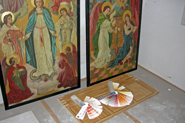 Eingangsbereich Senioren-Wohnstift Bonn Bornheim Eingang Kapelle Farbmuster Farben