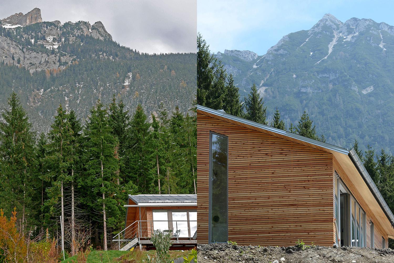 Wohnhaus Achensee Rofangarten Holzhaus Niedrigenergiehaus Hochformat Rotspitze