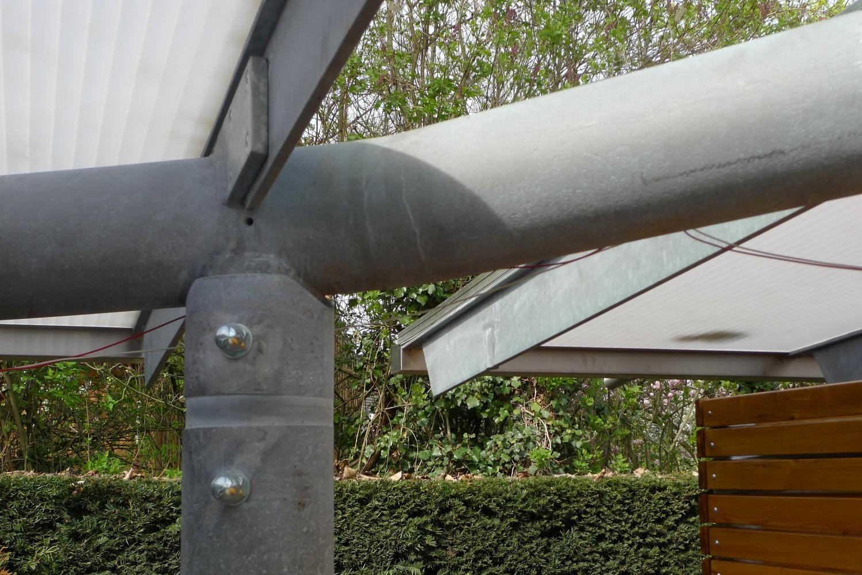 Carports Senioren-Wohnstift Bonn Bornheim Stahlbau Träger gekrümmt Detail Knoten Glasdach