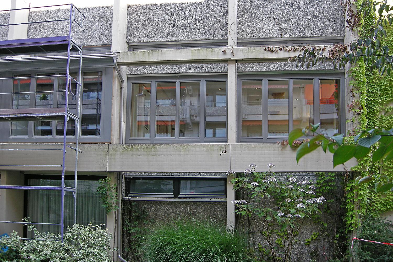 Fenster Senioren-Wohnstift Ainring Erneuerung Fassade Gerüst