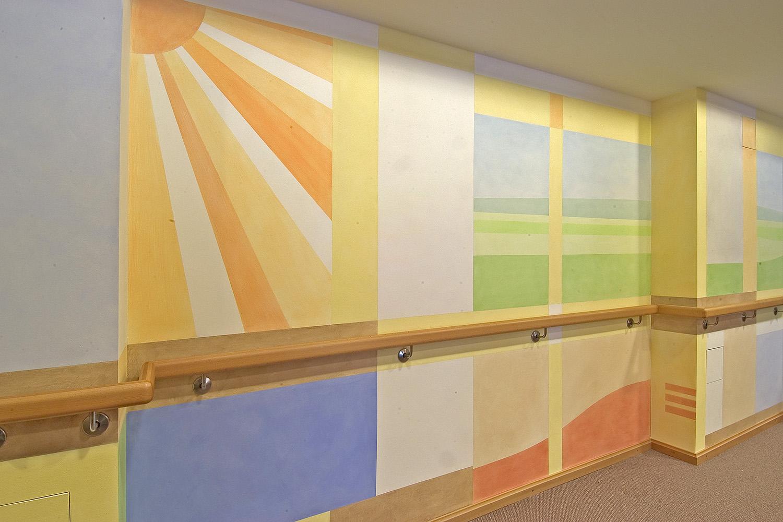 Pflegewohnbereich Senioren-Wohnstift Ainring Pflegestation Wandmalerei